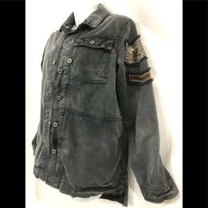 Free People Beaded Military Jacket Black Denim XS